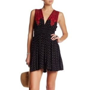 Free People elastic waist plunge neck dress